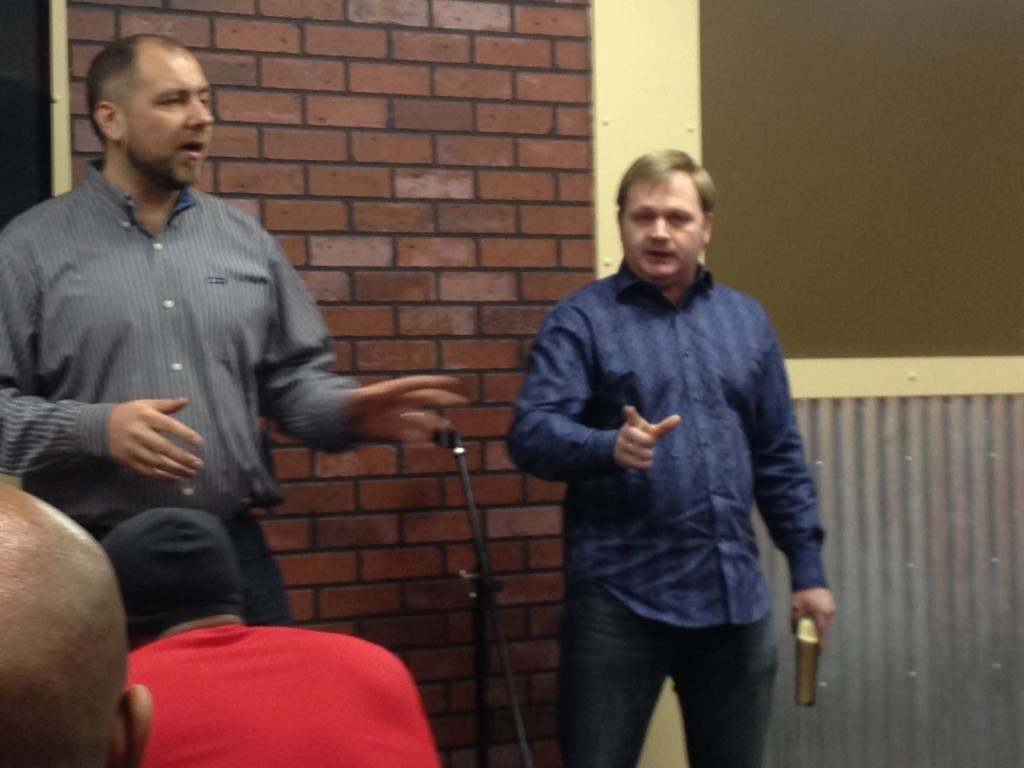 Pastor Alexander (on the right) from his visit to CLC earlier this year