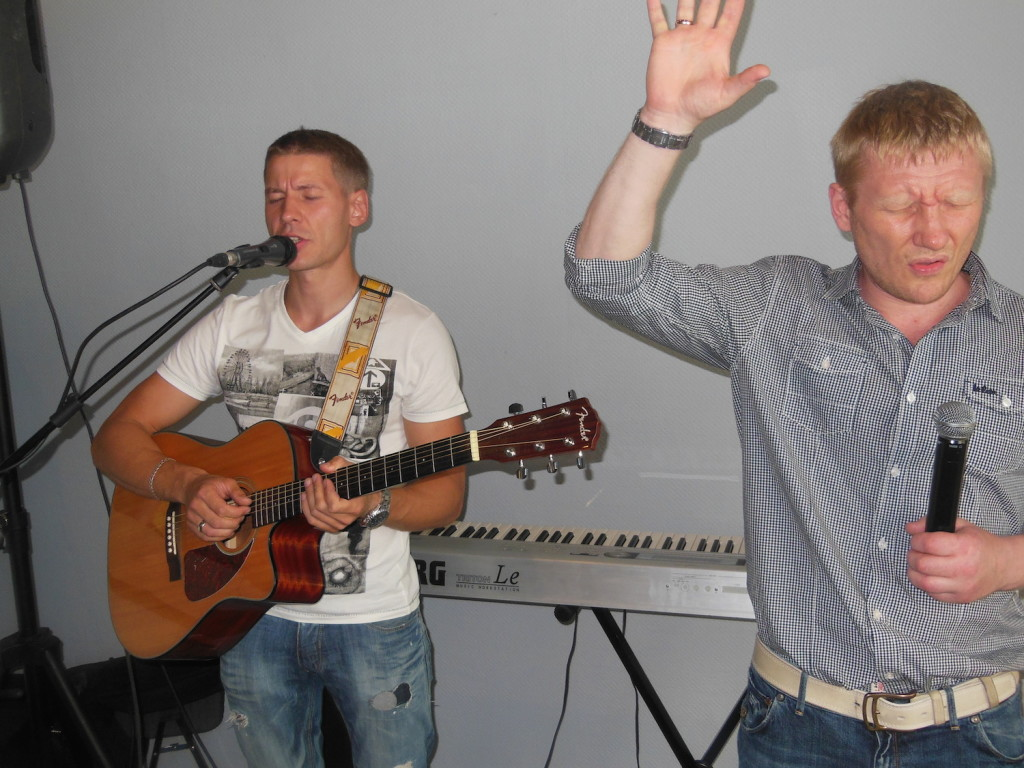 It was a 2-man band, but these brothers led us in worship in the men's gathering!