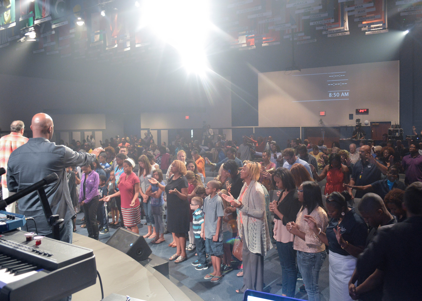 this pic was at the 8:30 service, by far the smallest number in the back-to-school prayer.  We couldn't fit them all into the altar area at the next 2 services!