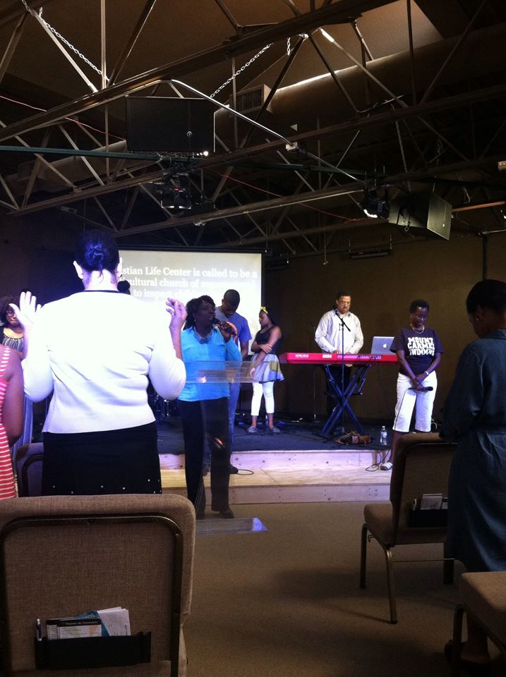 Prayer Ministry Coordinator Terrilyn Franklin leading our Blue Island campus in prayer for unity last Sunday