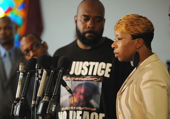 Mother of Michael Brown during a news conference in Ferguson, MO
