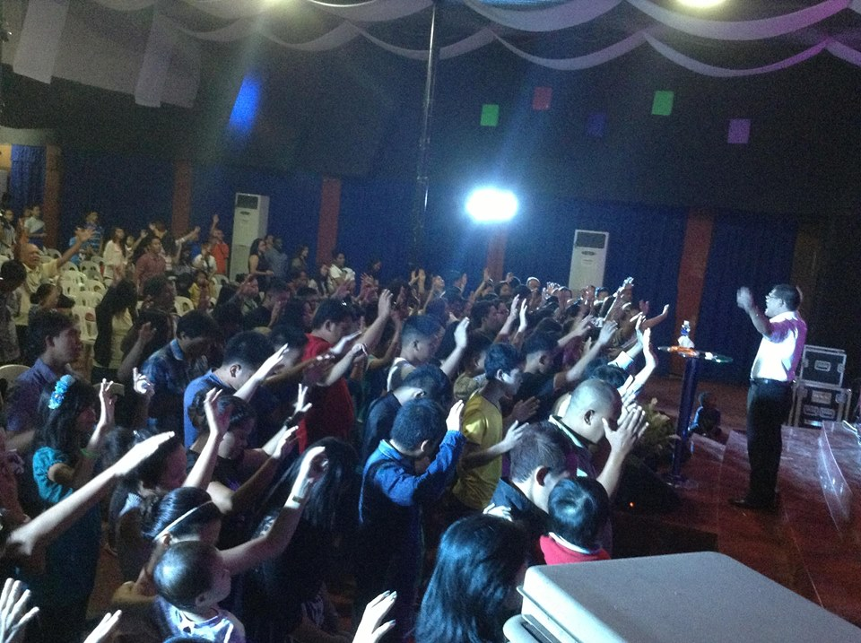 Finally, at our Davao campus, Pastor Herley reports overflow crowds today, with 80 Filipinos coming forward to receive Christ! (view from the rear of the auditorium)