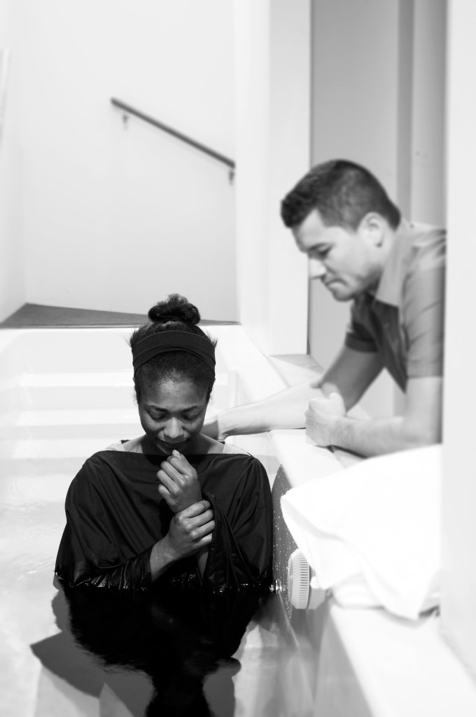 Stephanie Sims was baptized by Josh Moran, along with 2 other CLC'ers (never gets old!)