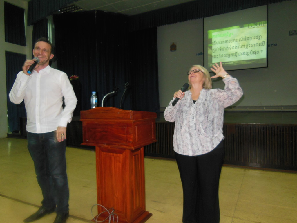 This pic of Chris teaching w/Pastor Jesse interpreting says it all: we were all NERVOUS before we got started, but soon after the teaching began, the FUN started!