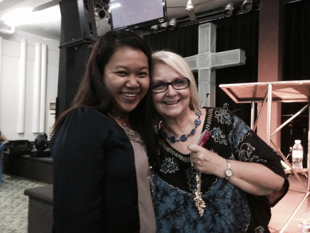 Chris really fell in love with this sister who is courageously involved in the justice mission for girls in the sex trafficking trade.  She gave Chris the necklace she's holding today before we left.