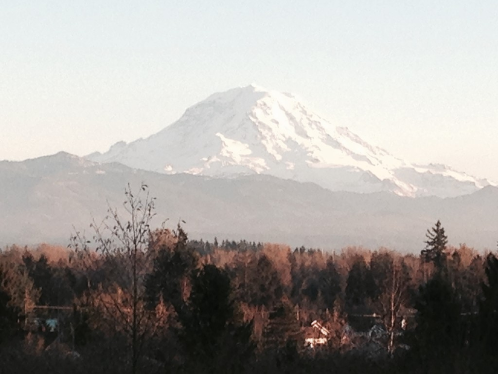 The view of Mt. Rainier from the Bentley's back deck is breathtaking