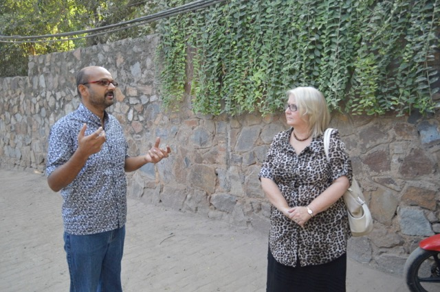 Aby Vargis (who visited CLC last February) explains some of IET's ministry to our team outside their offices in Delhi.
