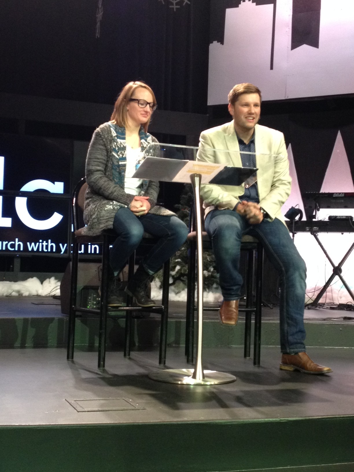 """At noon, NWI campus pastors, Sam & Taylor Hamstra, encouraged us all that """"God's Not Done with You!"""""""