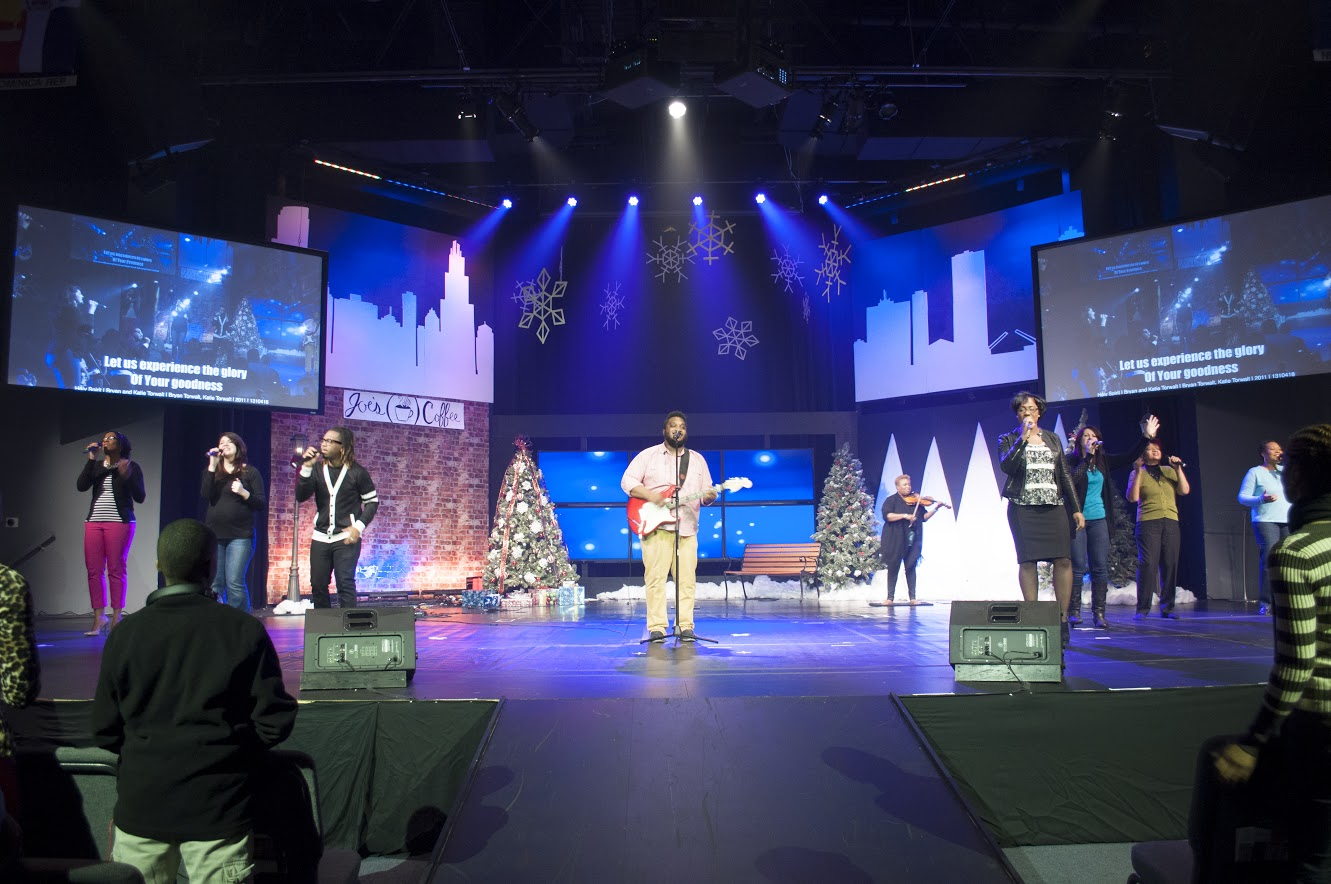 The backdrop for our Christmas Production makes for a nice stage set, too