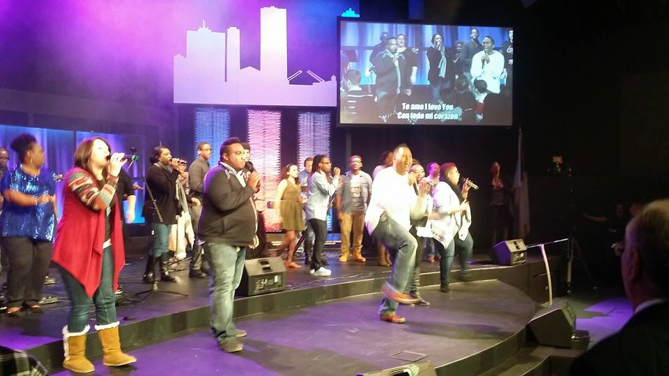This combined team of worshippers continued to lead long after service was dismissed
