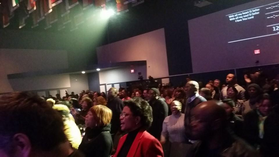 The auditorium was WALL-to-WALL with worshippers!