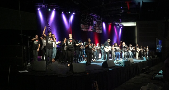 The combined Praise team from all 3 Chicagoland campuses FILLED the whole Convention Center stage AND filled the place with HIS Praises!