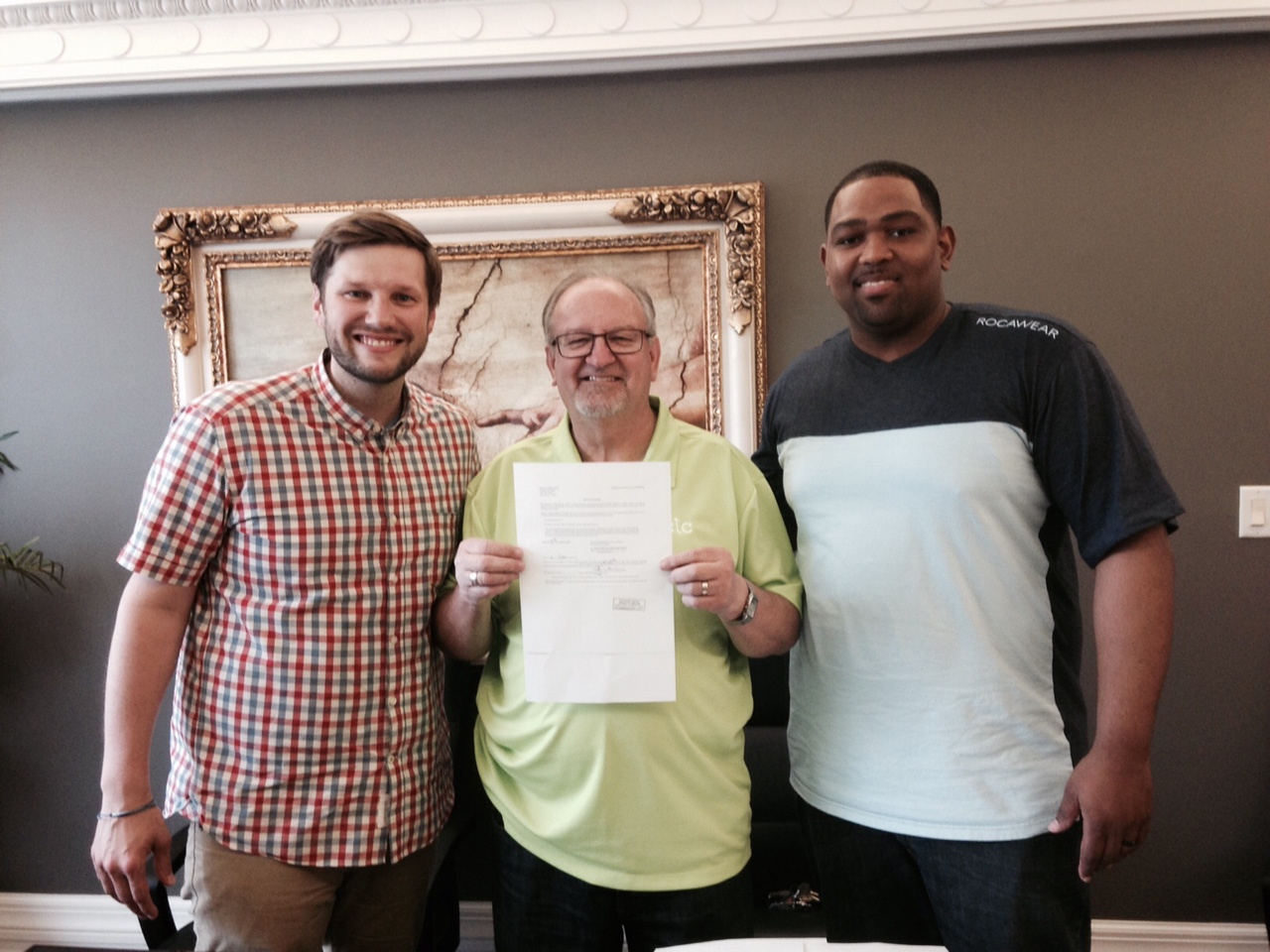 We CLOSED the deal this past Friday, with Pastor Sam & Finance Director Carlton McCarthy & Corporate Secretary Jack Starks (not pictured) joining me with a copy of the deed.