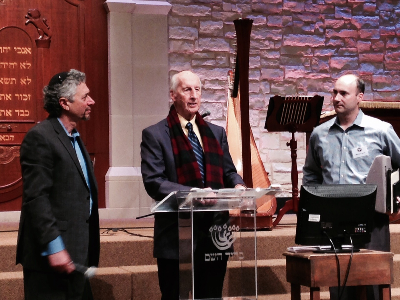 Rabbi Marty Waldman of Baruch HaShem Messianic Synagogue in Dallas is our host (L) and Pastor Jack Hayford was the keynote speaker (Center).