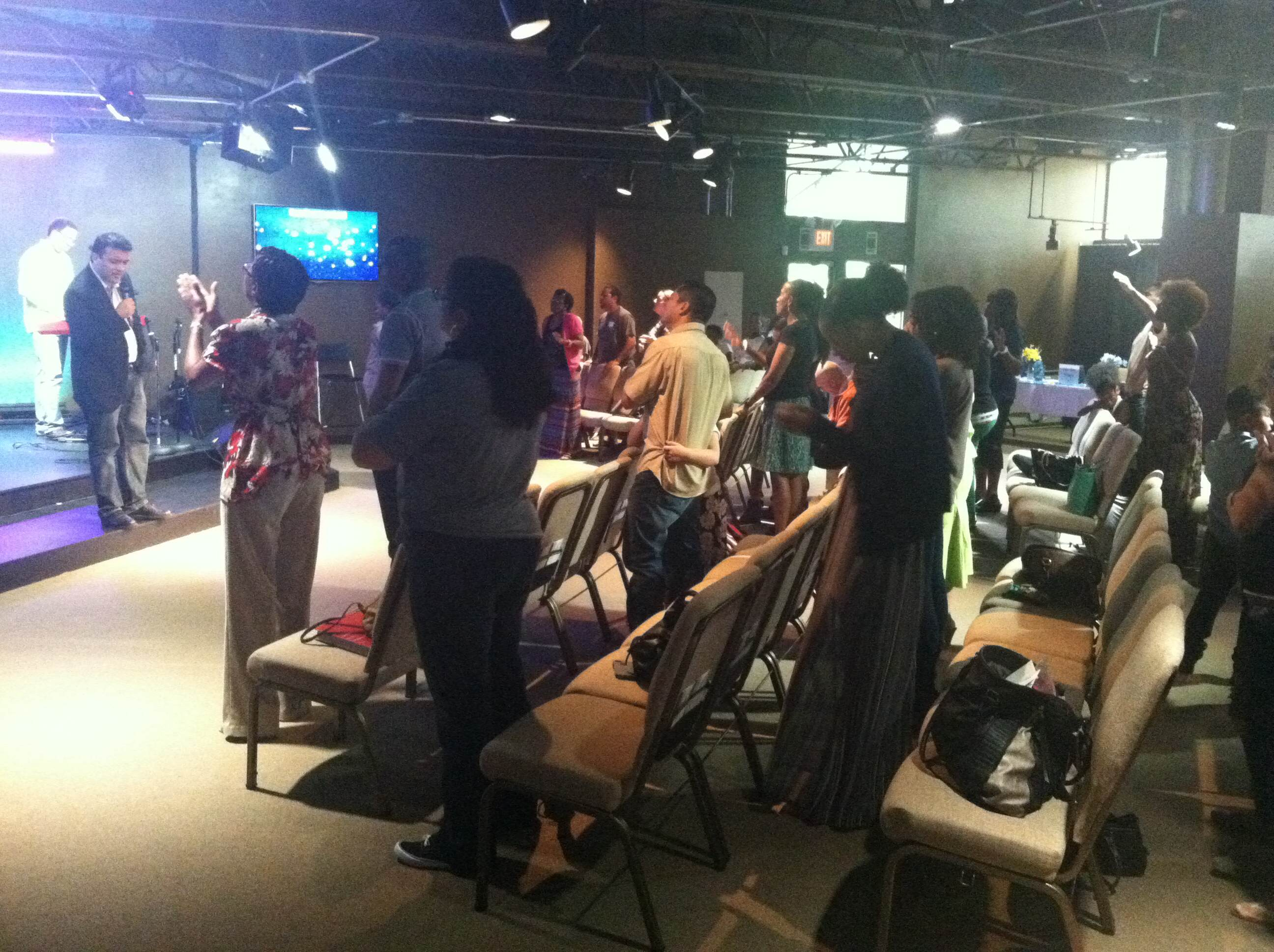Our Blue Island congregation in worship today-