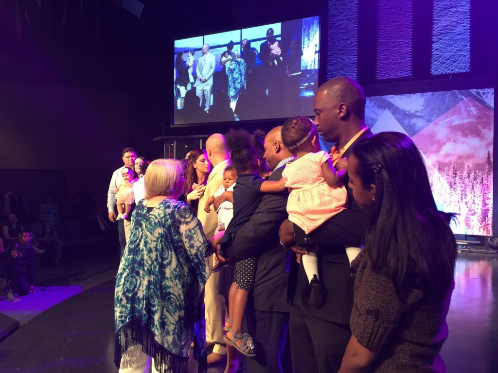 Later, we dedicated 5 children (and their parents) to the Lord (and Chris had a prophetic word for each child!)