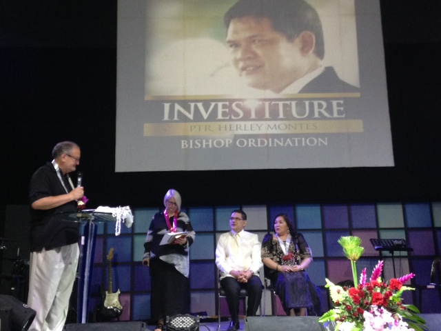 After worship, Pastors Herley & Nelly Montes were brought to the stage for the investiture ceremony.