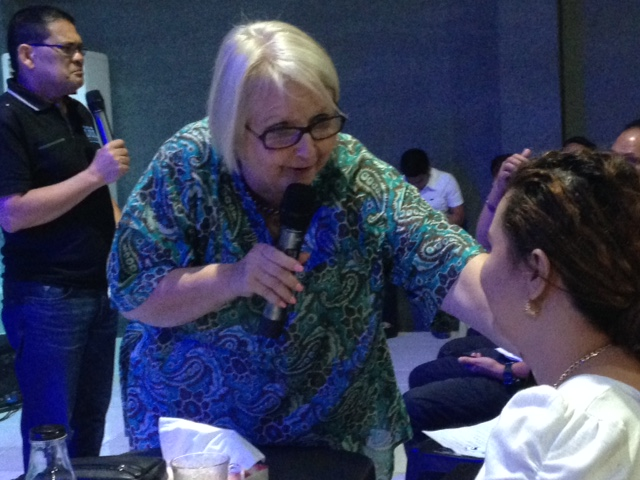 Chris was at her finest while teaching on spiritual gifts (here she was bringing it 'home' with June Ann Montes)