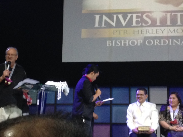Sons Brian & Nathan Montes presented Bishop Herley with a new study Bible from CLC.