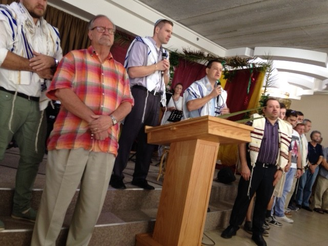 As the Shabbat service began, all of the men were called forward for an opening prayer.