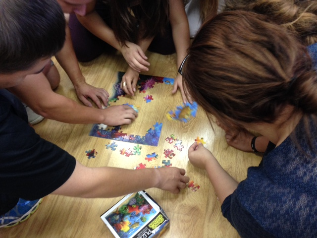 They REALLY got into it & actually completed the puzzle in a matter of minutes, much to our surprise!