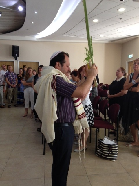 Rabbi Leon led a blessing for Succot, the Feast of Tabernacles which begins this week.