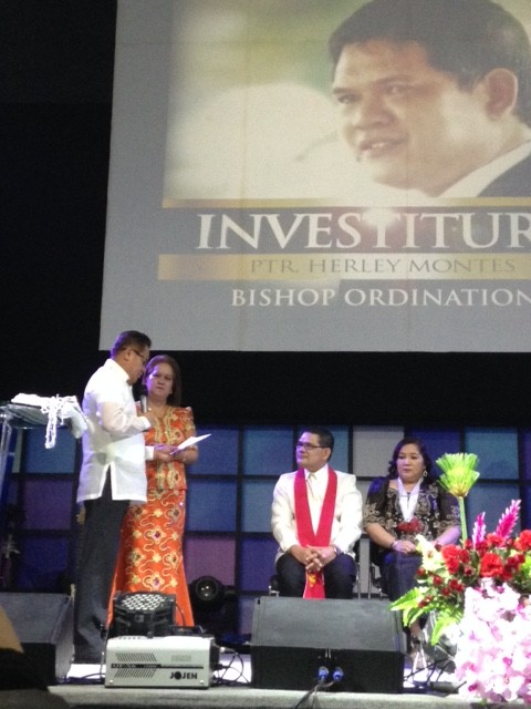 "Pastors Tito & Nelrose Sasam presented Herley with a ""Bishop's ring"", a gift from the G12 leader of the Philippines, Bishop Oriel."