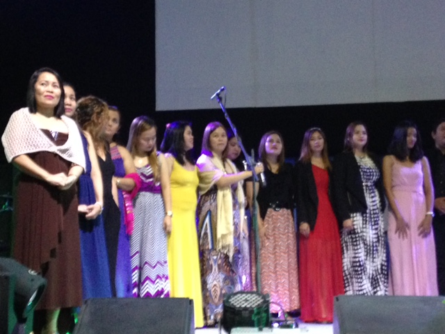"The women leaders of CLC-Davao formed a 'choir' (with their male counterparts) to sing to their new Bishop, ""You Raise Me Up!"" (Josh Groban's song became a beautiful tribute to the man of God)"