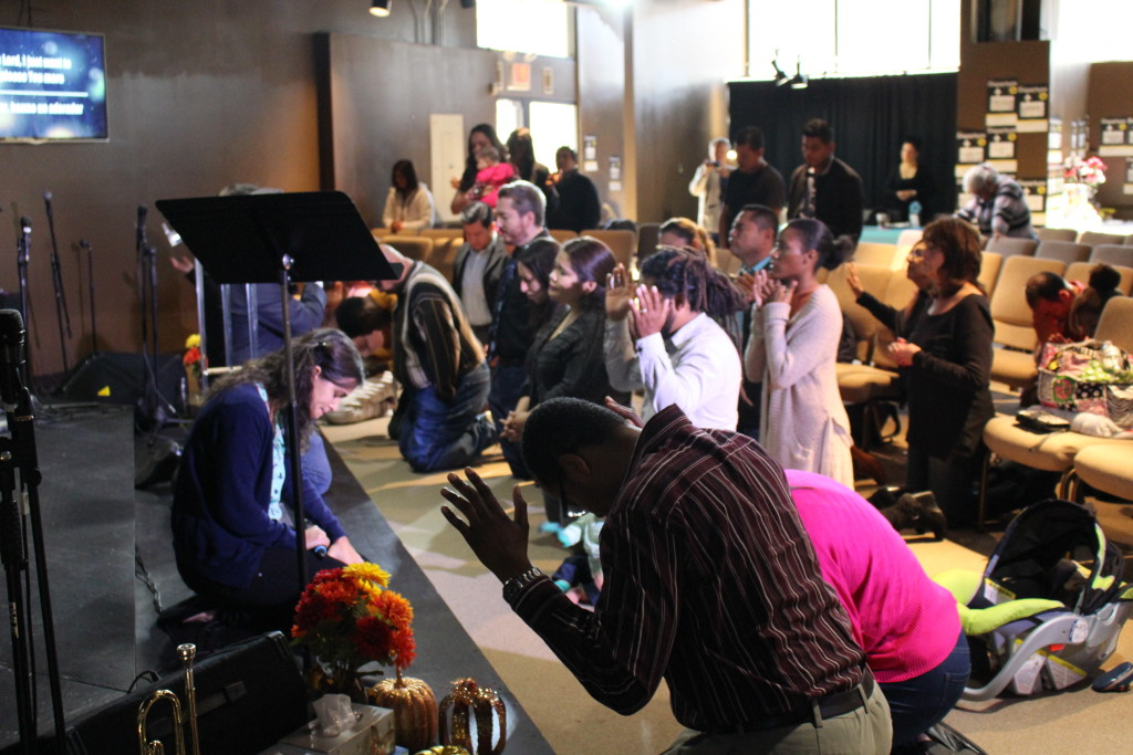 """AT our Blue Island campus, after a guest missionary shared, the altar filled up with people who were willing to do """"whatever God is calling them to do""""!"""