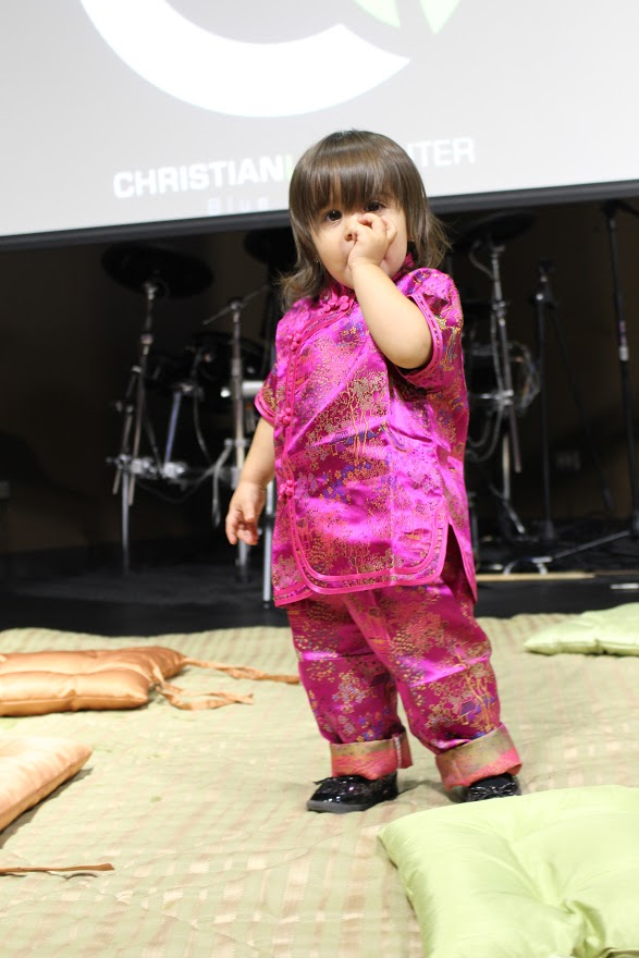 Our CLC-Blue Island International Dinner officially kicked-off our 2015 Missions Emphasis - and this 'China doll' (Neiley Arevalo, daughter of Pastors William & Melek) was there early to set the stage!