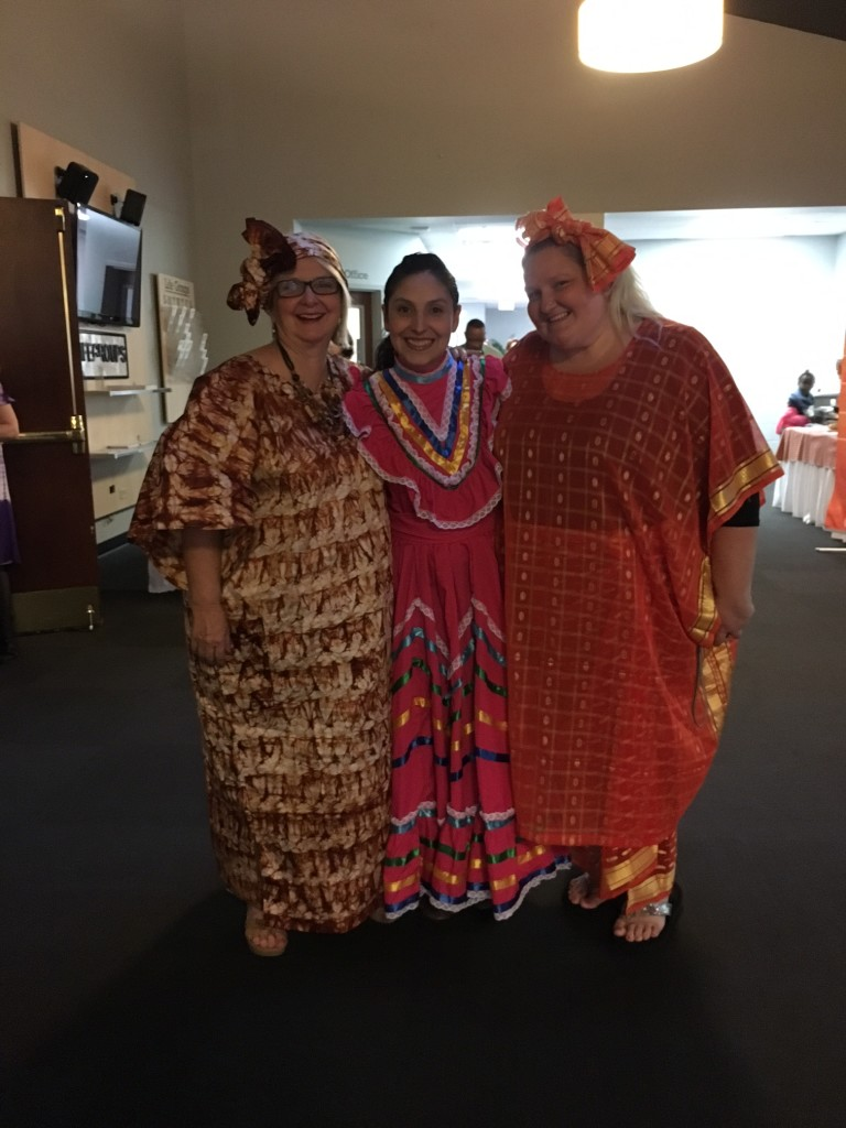 "Part of the FUN each year is the variety of international dress that we see & last night the ""McQuay girls"" brought it from (L to R) Nigeria, Mexico & Senegal!"
