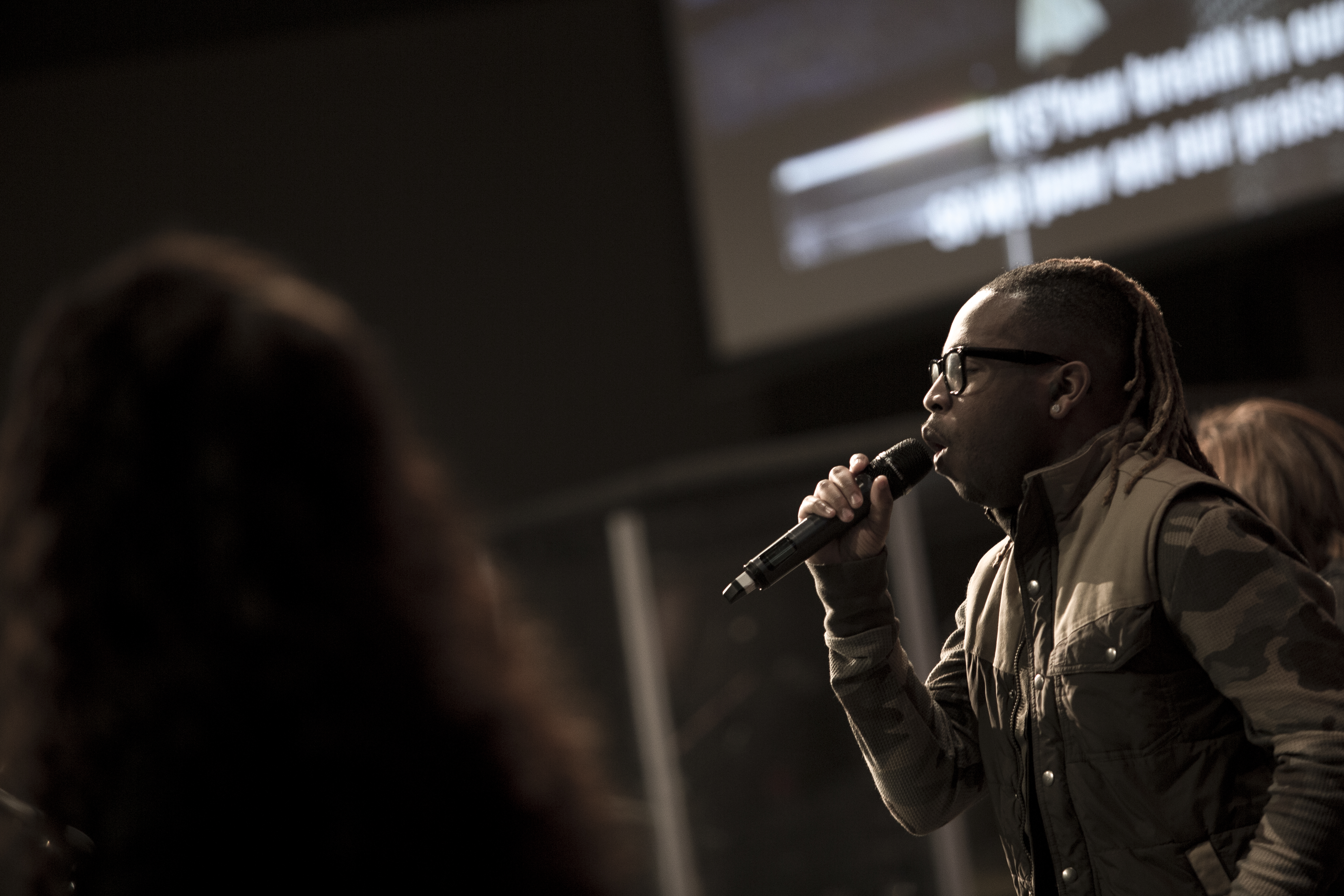 Creative shot of Ch'vez - you could see the passion in our worship today!