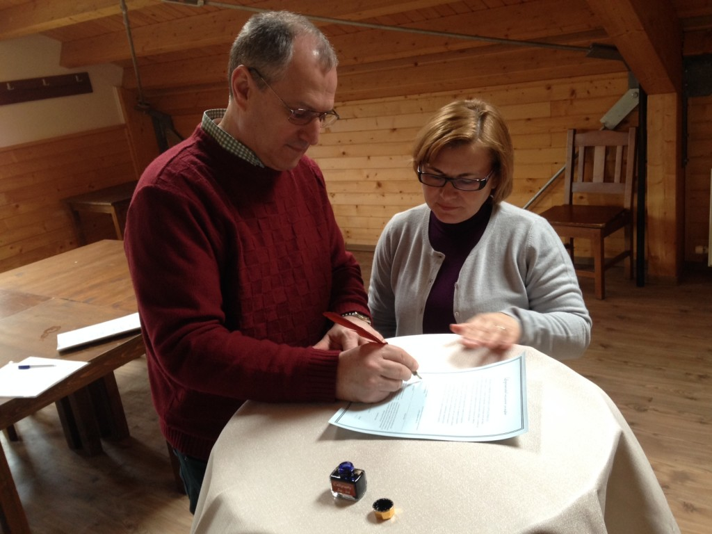 After our teaching, we led the pastors in renewing their marriage vows to each other.  Pastors Mihai & Neli were first to sign their renewal certificate.