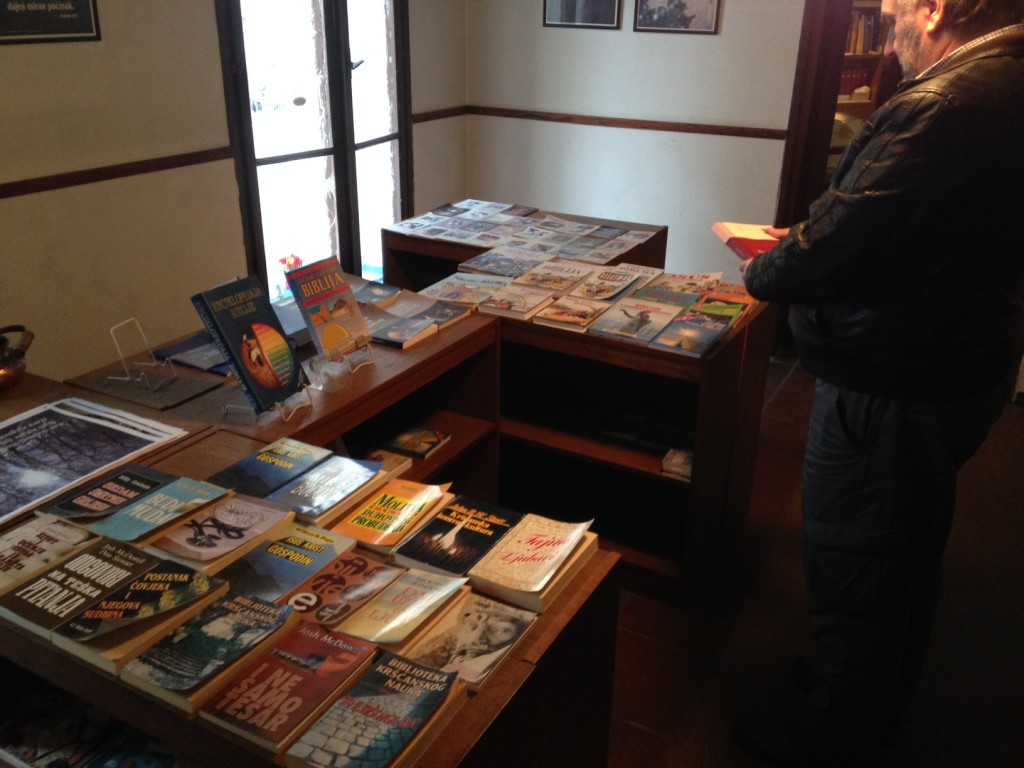 Believe it or not, you're looking at the ONLY Christian bookstore in the entire country of Croatia!  (And these 2 tables is the total of the store!)  How blessed we are to have access to Christian resources in America!