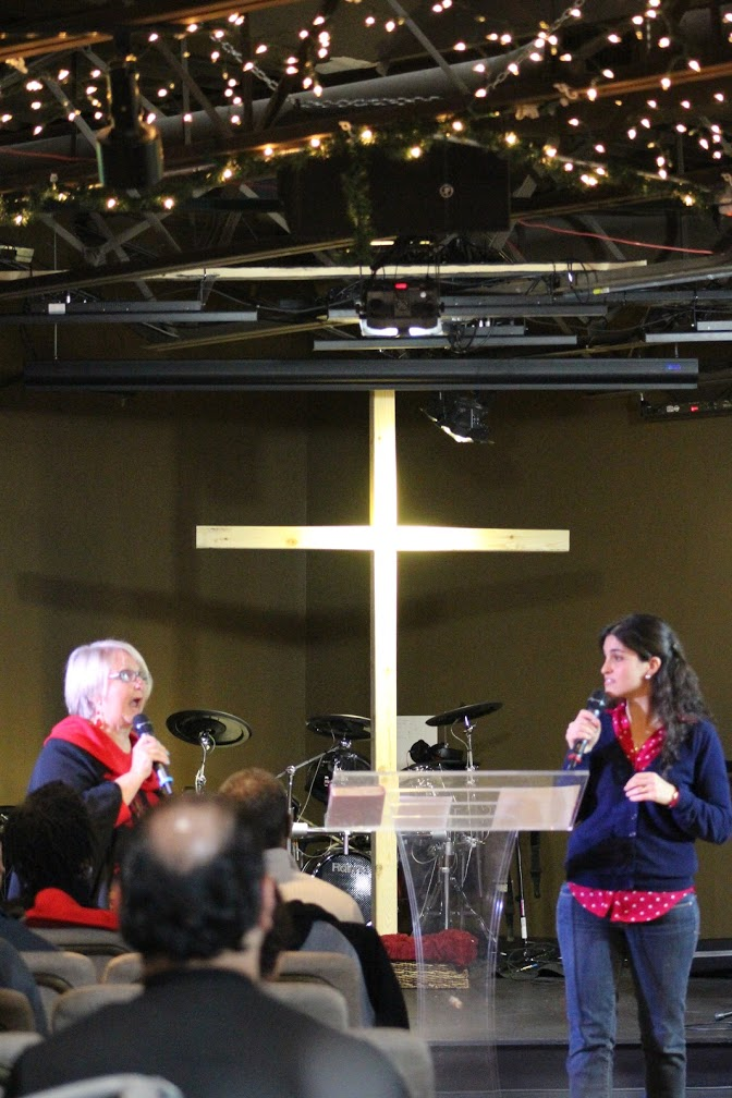 At Blue Island today, my wife preached about 'oikos' while Pastor Melek interpreted into Spanish