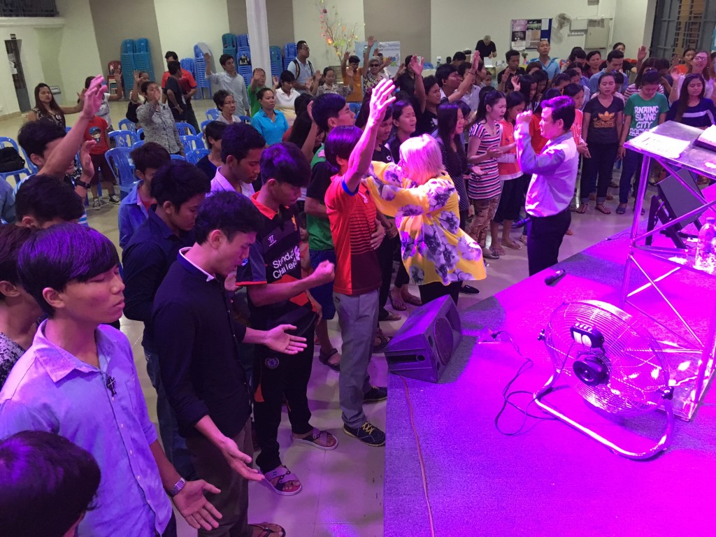 Finally, we prayed over some of the youth who want to be used by God to reach souls in this area of Phnom Penh (100,000 garment workers live in poverty within a mile of this church)