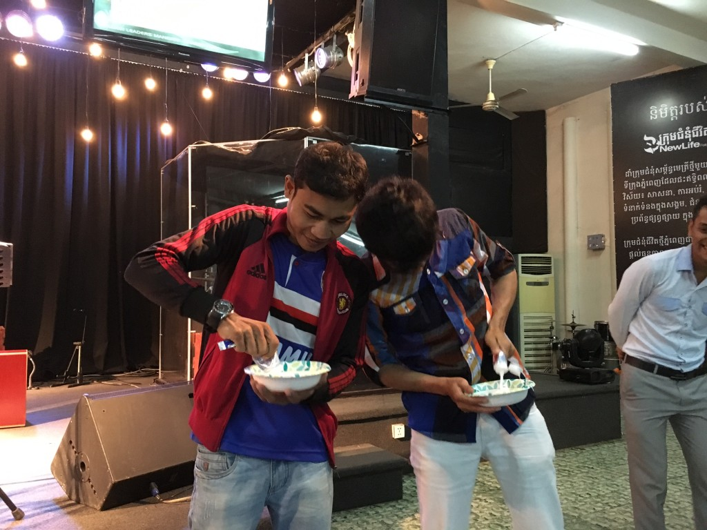 These 2 young leaders are engaged in a contest to see who can empty a tube of toothpaste the fastest.  Except when they finished, Chris instructed them to put the paste back in the tube, to illustrate that we can NEVER take back our words once they are spoken (don't gossip!)
