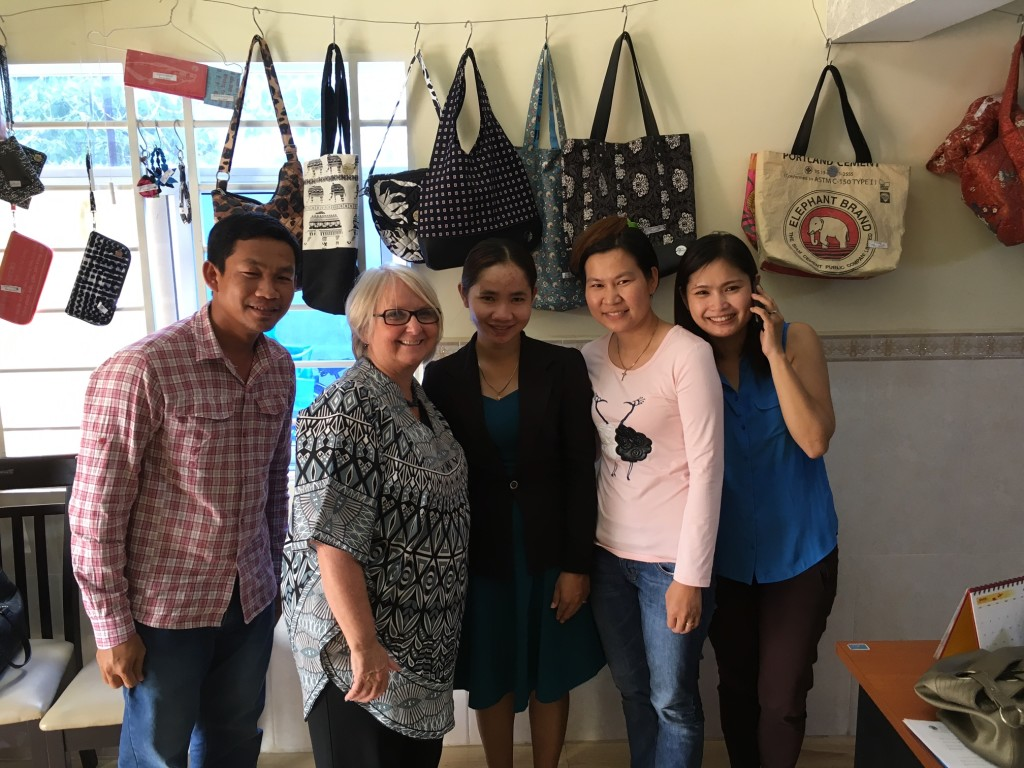 After lunch, Pastor Seiha (far R) gave us a tour of her office at Center for Global Impact - a ministry that helps girls rescued from sex trafficking to learn job skills & begin building a new life for themselves!