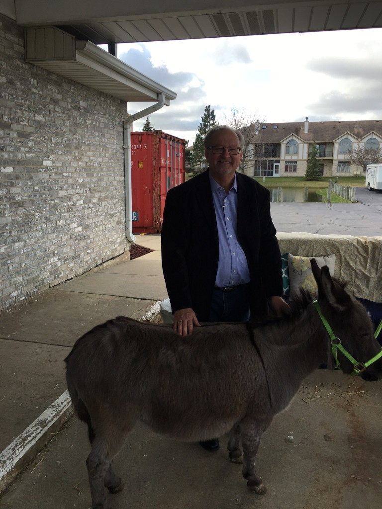I decided to get my picture with the donkey, too.  (The donkey is in front)