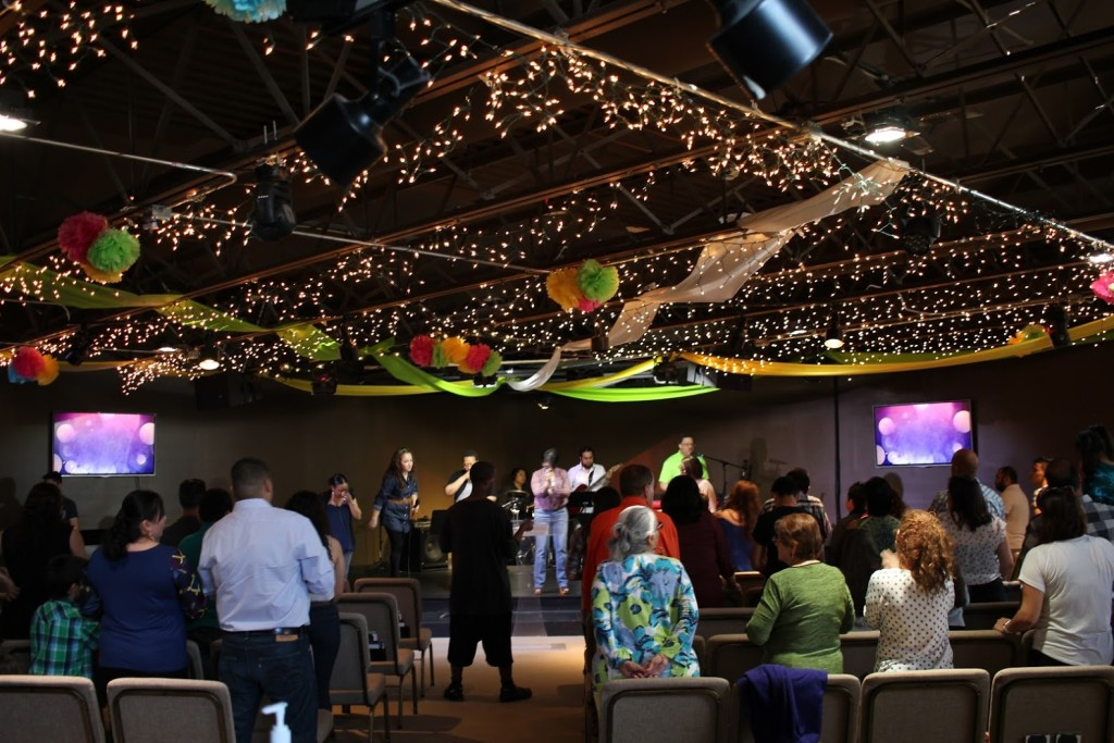 Our Blue Island campus auditorium is FESTIVE - which sets the right tone for worshiping God!