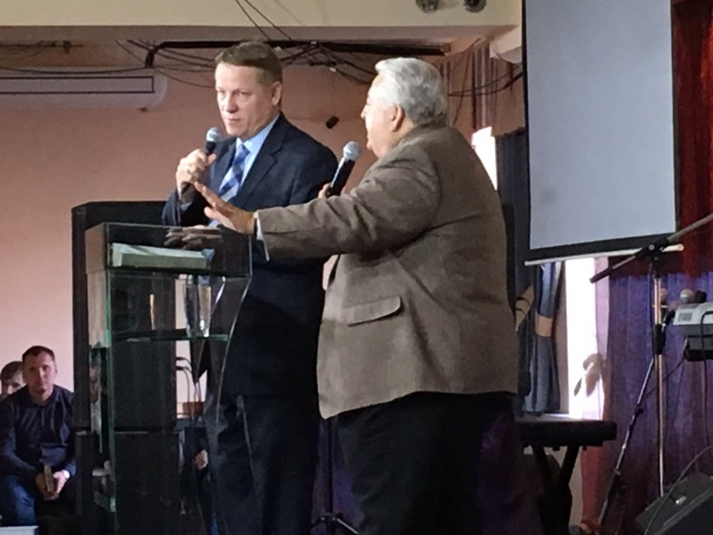 """Dr. Shibley from Global Advance preached, """"10 Reasons Why We Go"""", with Pastor Ilya Bantseev interpreting."""