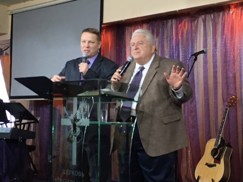 """Dr. David Shibley from Global Advance preached """"Keys to the Harvest"""" tonight, with Pastor Ilya Bantseev interpreting."""