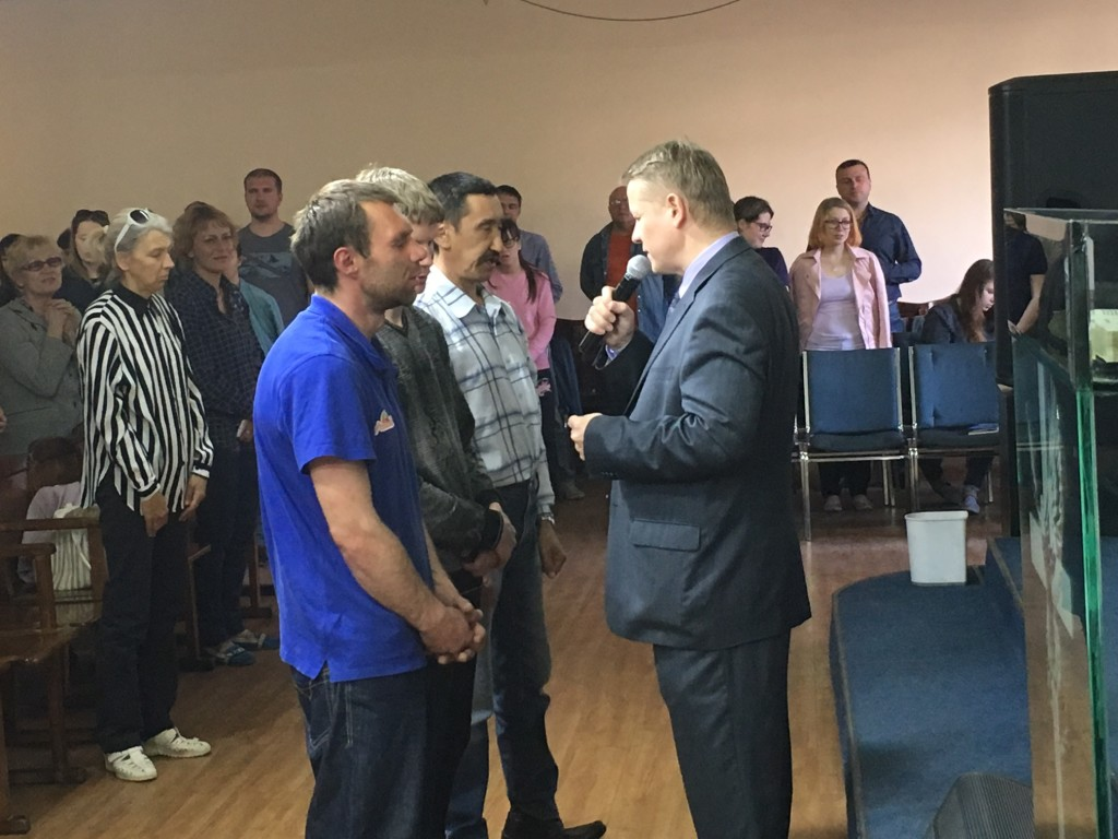 After the message & the response from workers willing to go into missions, Pastor Ilya made a salvation invitation and these 3 men came & prayed to receive Christ!