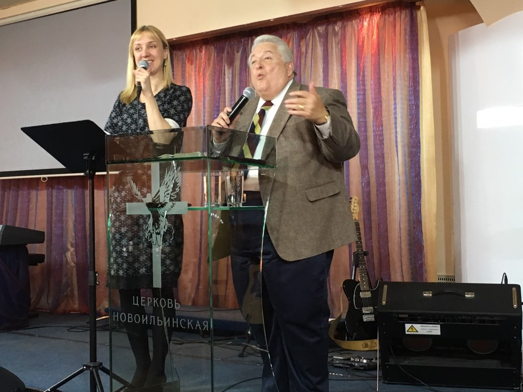 """Dr. Shibley delivered a great message about """"7 Voices We Should Hear"""" in today's second service, with Oksana interpreting."""