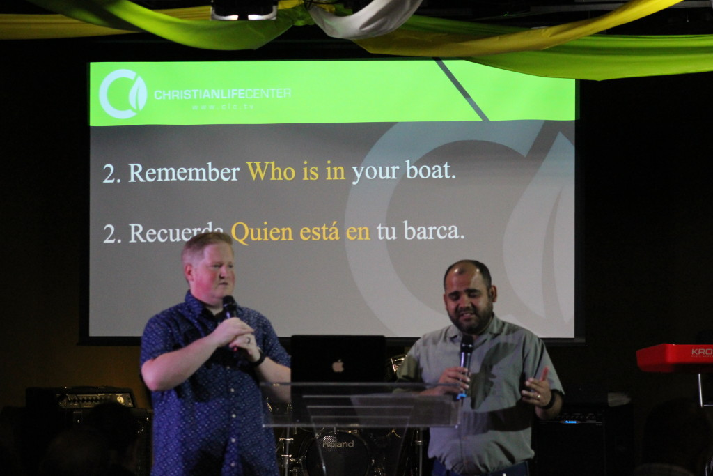 "Pastor Brent encouraged everyone in a crisis to ""remember who is in your boat!"" (with Jorge Arevalo interpreting)"