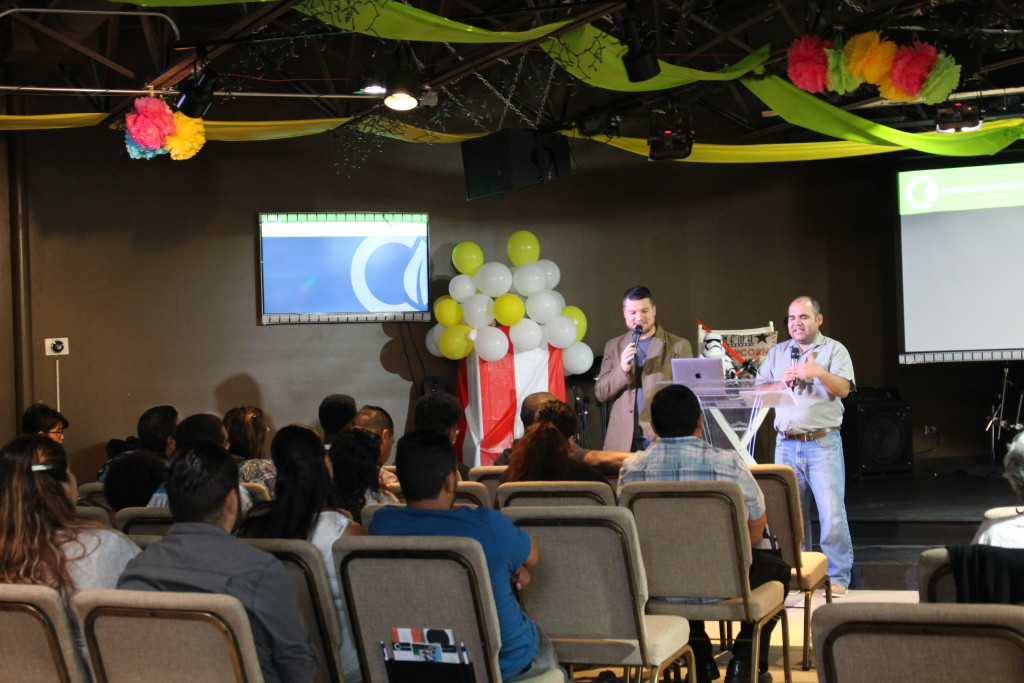 Pastor Josh preached the 'Star Wars' message in Blue Island as Jorge Arevalo translated.