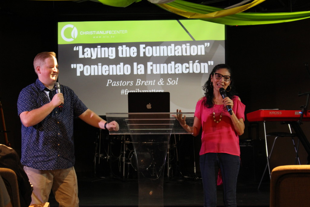 "Pastors Brent & Sol brought today's ""Laying the Foundation"" message in Blue Island in both English & Spanish"