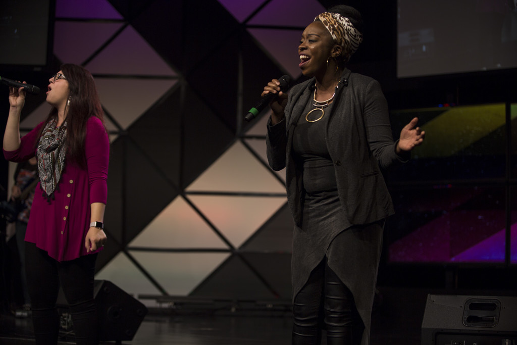 Worship at Tinley Park today featured 3 great female soloists (Heather & Tiffany pictured here)