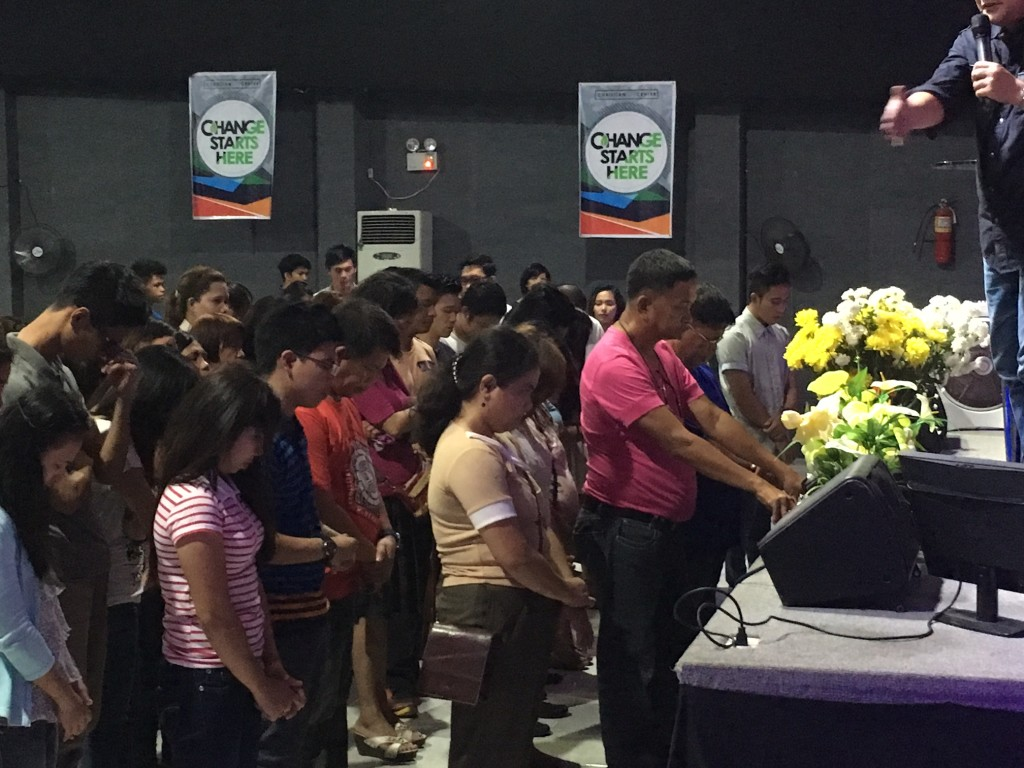 After I ministered about prayer today, Pastor Herley gave the altar invitation and these precious people came forward for salvation. (What God is doing in the Philippines is AMAZING - our campus in Davao has grown from less than 500 to more than 2,000 in just the past 7 years!)