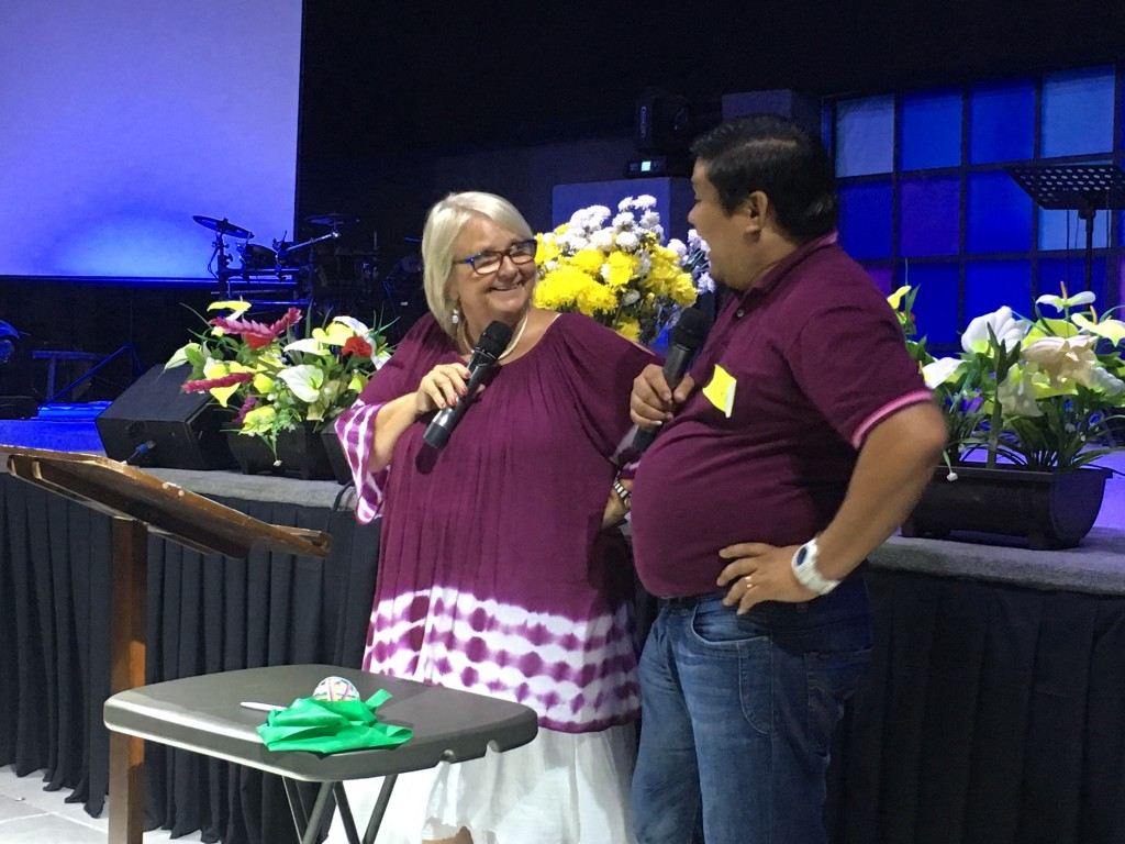Our long-time friend, Pastor Jeser from CLC-Tagum interpreted today's sessions & his humor kept everyone AWAKE!